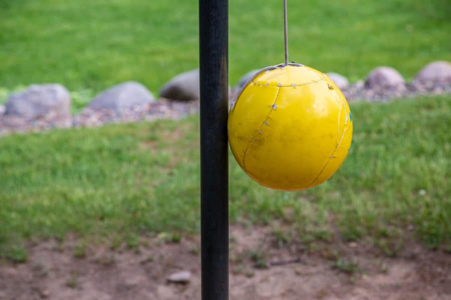 Yellow tetherball for dogs